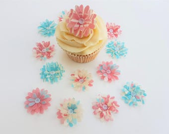 14 Edible Catherine Collection 3D Wafer Flowers Cupcake Toppers Precut