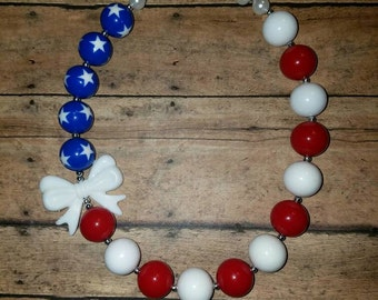 Patriotic flag inspired bubblegum necklace, 4th of July, Military homecoming