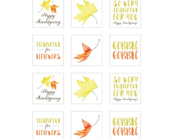 INSTANT DOWNLOAD - Printable Thanksgiving/Friendsgiving Tags/Stickers (6 designs) - 2x2 - Eat, Drink and Be Thankful
