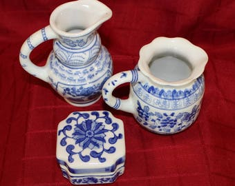 Im;ari Style Blue & White Floral Vintage Trio of Pitchers and a Box