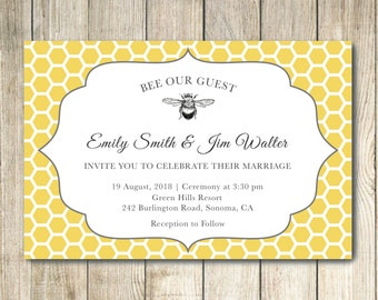 Bee Our Guest - Custom Wedding / Save the Date Postcard Invitation