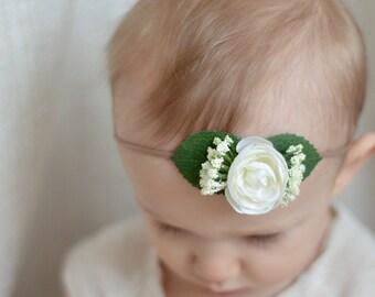 baby girl flower headband // white rose