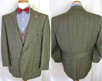 Vintage Wool TWEED Herringbone Blazer ~ 44 Short to Reg ~ jacket / sport coat ~ Hunting ~  Norfolk ~ 1930s Style