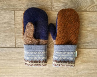 Rust and Blue Sweater Mittens //LoveWoolies Mittens //Fleece Lined
