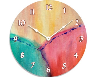 Contemporary 10 inch wall or kitchen clock. Colorful abstract design, red gold, blue and green. CL3285.