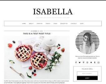 "Premade Blogger Template Responsive Design | Blog Theme ""Isabella"" 