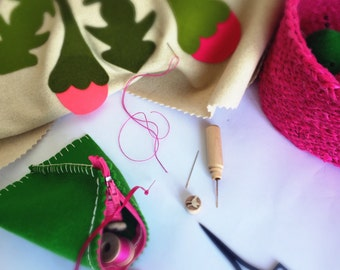 PINK SEWING BASKET & Sewing box with emerald green sewing accessories and notions