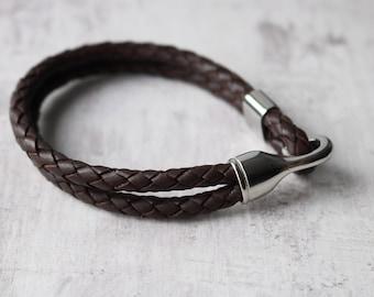 Men's Leather Bracelet - Mens Braided Leather Bracelet