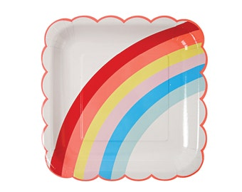Rainbow Plates - disposable paper party plates - Unicorn party tableware