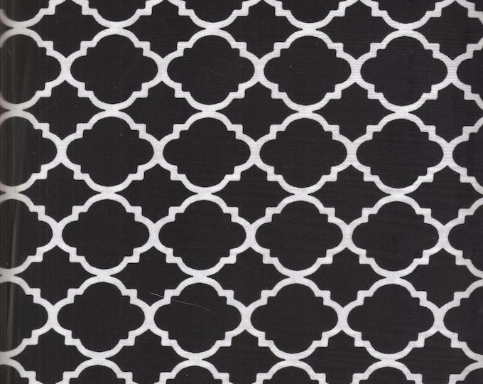 fabric by the yard, black quatrefoil fabric, black and white fabric, cotton fabric, black fabric, black quatrefoil fabric, black fabric