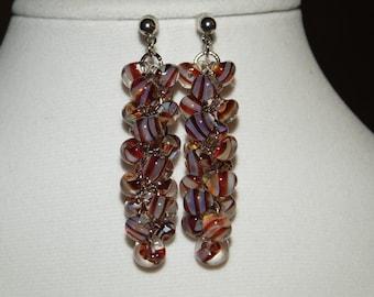 Candycane. Unicorne Bead Earrings, Dangle Earrings, Lampwork Bead Earrings, Glass Bead Earrings