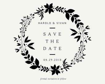 Save The Date Card Black and White
