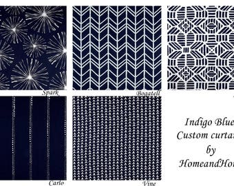 One pair Indigo blue curtains Custom curtains bedroom curtains custom panels window curtains you choose your length, Custom drapery