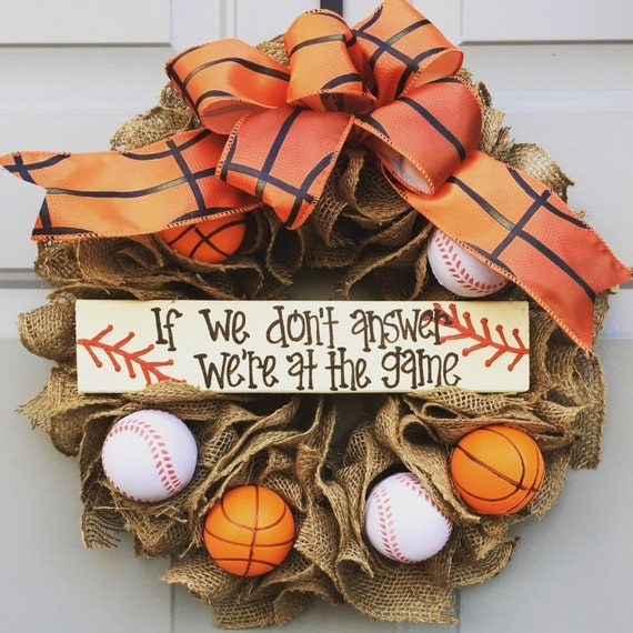 If We Don T Answer We Re At The Game Burlap Wreath