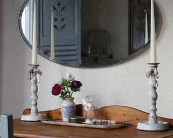 Large Vintage Barbola Wall Mirror with Pretty Coloured Roses Crest