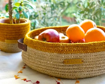 Yellow and beige basket made of hemp