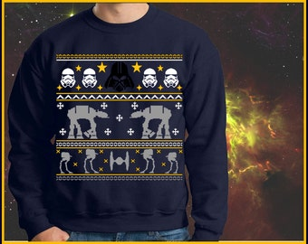 star wars rogue one Christmas Sweater. Printed on Unisex Christmas Sweatshirt. Perfect Christmas Gift, Ugly Xmas Sweater Star Wars Shirt