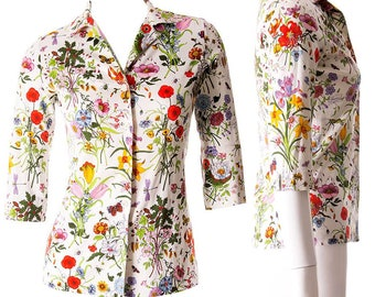 Gucci Vintage Vito Accornero 1970s Princess Grace Iconic Flora Print Shirt