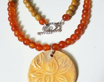 Carnelian and Woodlace Stone necklace with ceramic orange Lotus pendant ~ one of a kind ~ OOAK