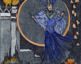 Queen of the night - Opera - collect - decoration-apartment - original etching printmaking miniature - etching