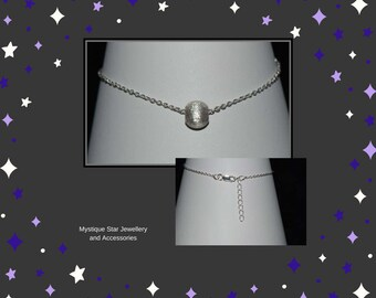 Sterling silver bracelet with sterling silver 925 brushed bead.