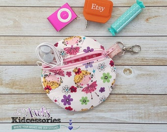 Princess Coin Purse - Round Bag - Planner Pouch - Purse Organizer - Fabric Zip Pouch - Zipper Bag