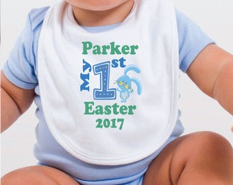 Personalised 1st Easter Bib - Pink/Blue Bunny
