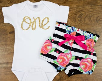 Baby Girls 1st Birthday Outfit | Black and White Stripe and Fuchsia Floral High Waisted Bloomers Outfit with Gold One
