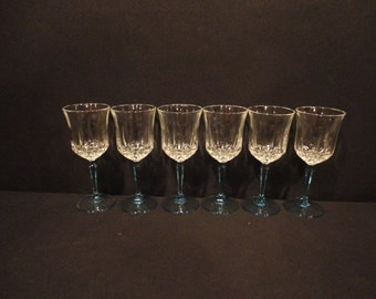 Vintage Cris  D'Arques/Durand Crystal and Azure Sky Blue Stem Base Wine Glasses
