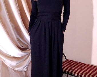 Maxi Black Dress Round Neckline Long Sleeves Pockets Sash Full Length