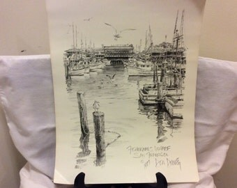 """Vintage 1977 Signed Lithograph Print, Art by Don Davey, """"Fisherman's Wharf"""", Man Cave, San Francisco Collectible Print"""
