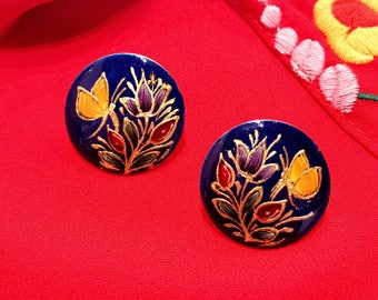 Hand-Painted Lacquer Stud Earrings