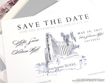 Four Seasons Resort Las Vegas Wedding Save the Date Cards, Save the Dates, Vegas Skyline, Hand Drawn (set of 25 cards and envelopes)