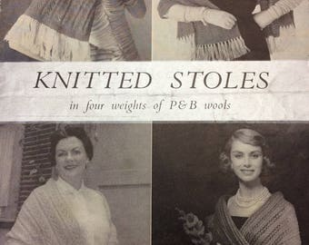 vintage knitting pattern 1950's P&B 113 four knitted stoles 2ply 3ply 5ply double knitting