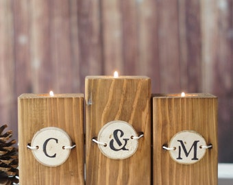 Reclaimed Wood Candle Holder Personalized Home Decor Rustic Home Decor Couple Gift