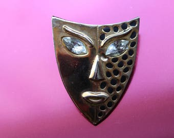 Theatre Mask Brooch Vintage 1980's Goldtone Jewellery / Jewelry