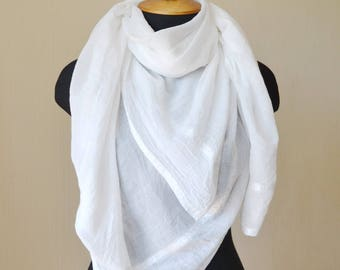 White scarf Wedding shawl wife gift|for|her Bridal shawl White shawl Cotton scarf romantic gifts summer scarf fashion scarf birthday gifts