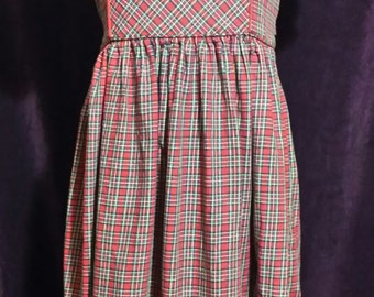 An adorable little girl, red plaid vintage dress of quality, girls size 8.
