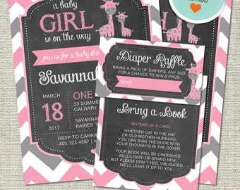 Giraffe Baby Shower Invitation, Giraffe Invitation, Giraffe, Pink, Gray, All Chevron | DIY