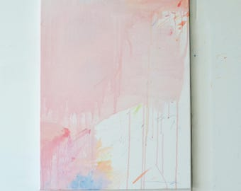 love poem - pink abstract art painting