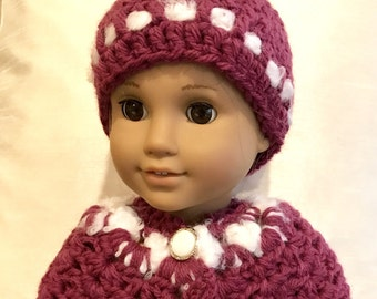 "18"" Doll Coat - Handmade Crochet Cape and Hat Set for American Girl Doll 18"" Doll - Item D21"