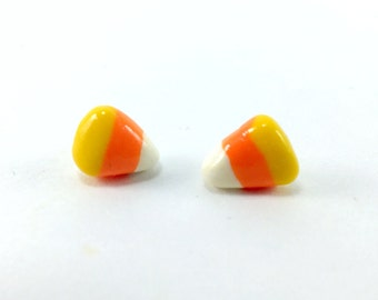 Candy Corn Earrings Halloween jewelry fall earrings candy corn studs holiday jewelry trick-or-treat polymer clay miniature food
