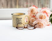 Ceramic Coffee Mug - Happy Camper - Travel Mug - 11 Ounce - Lettered - Hand Lettering - Tea - Handlettering - Quotes - Gift - Speckled