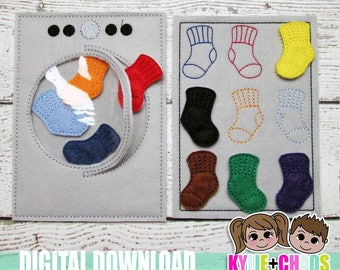 Washer Sock Match Felt Board ITH Embroidery Design