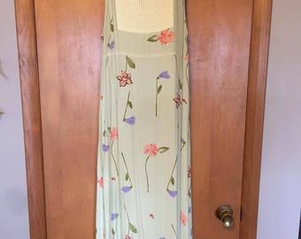 Carol Anderson Mint Green Floral Print Full Length Jumper in Misses Medium