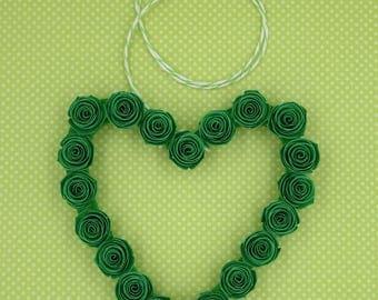 St Patricks Wreath, Paper Roses Heart Wreath, Miniature Heart Wreath, Paper Roses, St Patricks Day Decor