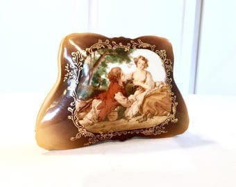 Vanity Hair Pin Box, Ring Box, Powder Box, Made in Germany, Hinged Porcelain Jewelry Box,trinket box