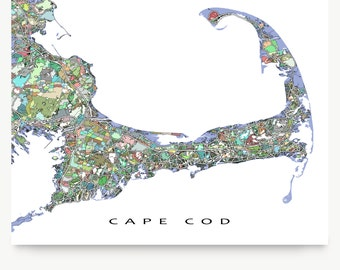 Cape Cod Map, Cape Cod Art City Map Print, Street Art Map, Massachusetts