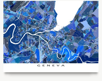 Geneva Map Print, Geneva Switzerland, Europe Swiss City Art, Blue