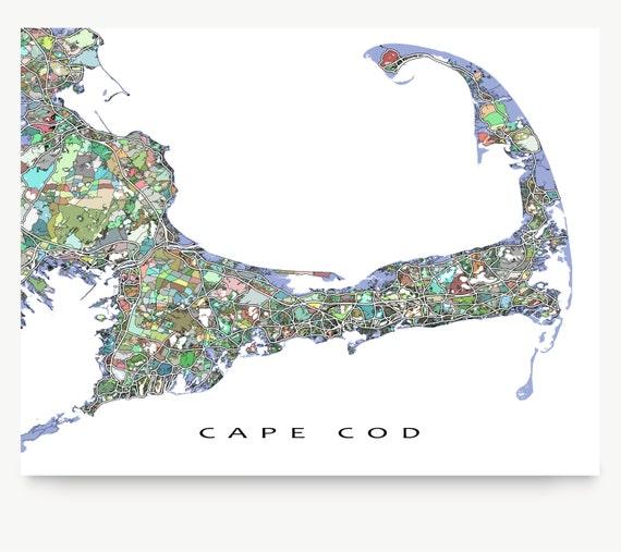 Cape Cod Map Cape Cod Art City Map Print Street Art Map